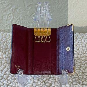 CARTIER must de calf leather burgundy key holder